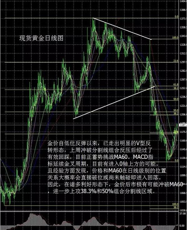 现货黄金日线图(1.11日)