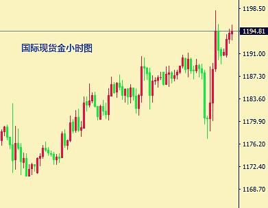 国际现货黄金小时图(1.12日)