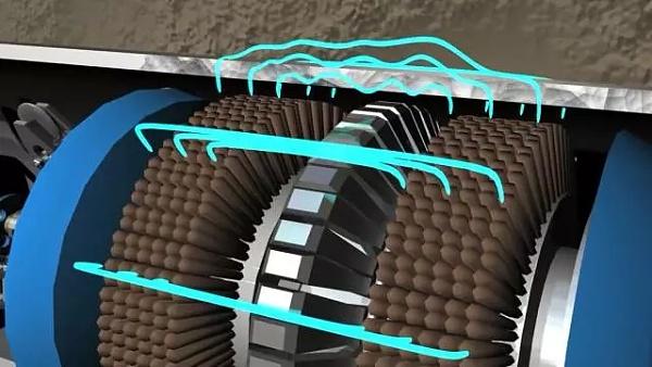 油气管道内若存在污垢,也可以放入管道石油机器人进行清洗▼-石油