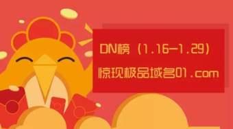 DN榜新气象!极品数字域名01.com位居DN榜榜首!其价格约182万美元!