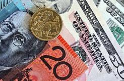 经常帐数据使澳元承压向下 澳元兑美元下跌约20个点