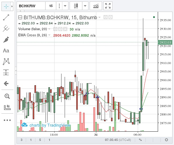 (Bithumb 比特币现金价格示意图 图片来源:石小猴财经)