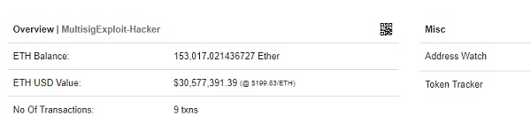 黑客从以太坊Parity钱包盗取3200万美元