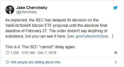 SEC推迟关于比特币ETF裁决到2019年2月27日