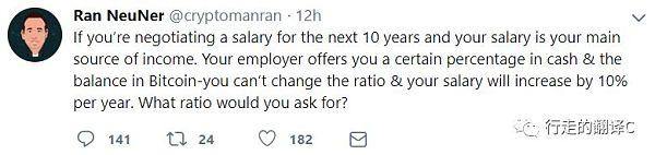 《推特大咖说28/12》 假如工资发比特币你会选择何种比例?