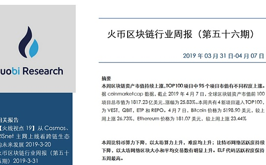 火币区块链行业周报(第五十六期 附PDF全文)