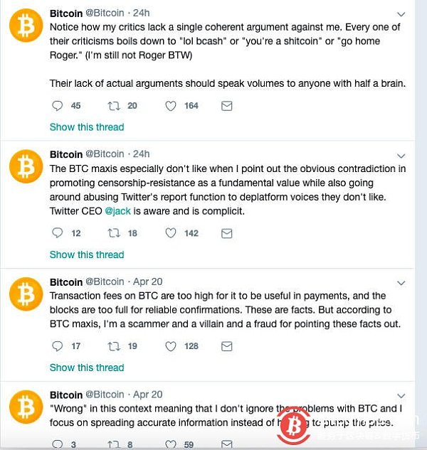 """Twitter account """"Bitcoin"""" long-term text support """"BCH"""" Someone petitioned CEO to seal it"""