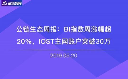 公链生态周报:BI指数周涨幅超20% IOST主网账户突破30万 | 链塔智库