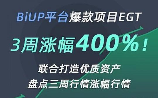 BiUP推爆款项目EGT  3周涨幅400%
