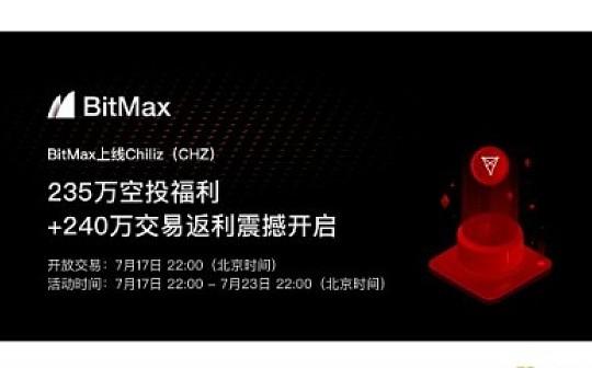 BitMax上线Chiliz(CHZ),235万空投福利+净买入排名赢2%返利