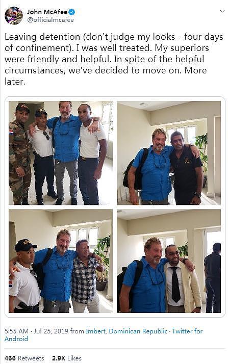 杀毒软件教父、比特币爱好者约翰·迈克菲被多米尼加共和国拘留