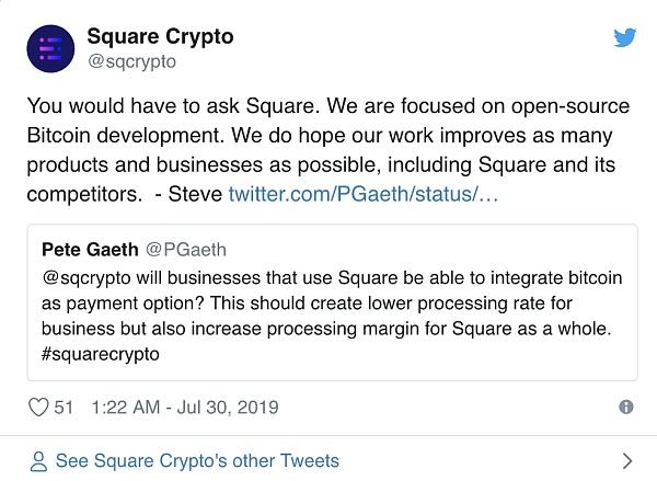铰特CEO的顶付公司Square:比特币坚硬是最好的 为什么还要发币?
