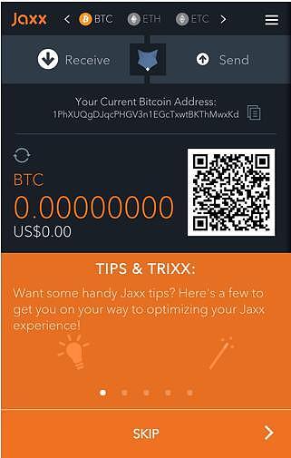 Jaxx钱包移动端使用教程