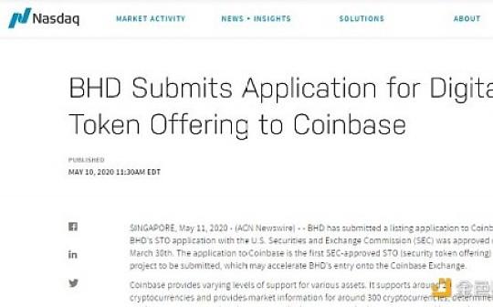 BitcoinHD已向Coinbase提交上币申请