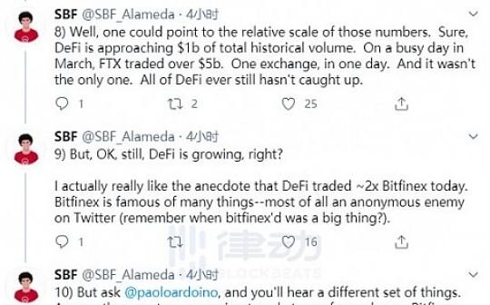 FTX创始人SBF:DeFi 数十亿美元的交易量是真实的么?