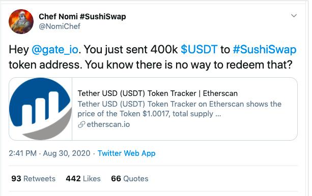 "Sushiswap""打错币""变乱:我想省下Gas费,却丢了40万美元"
