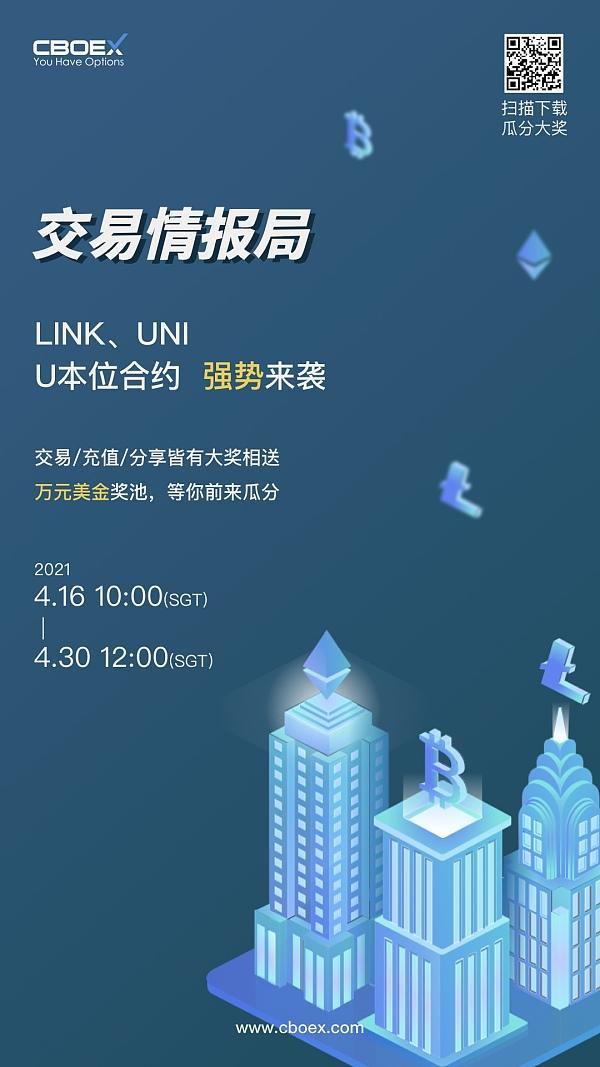 CBOEX交易所新增交易币种LINK、UNI福利活动