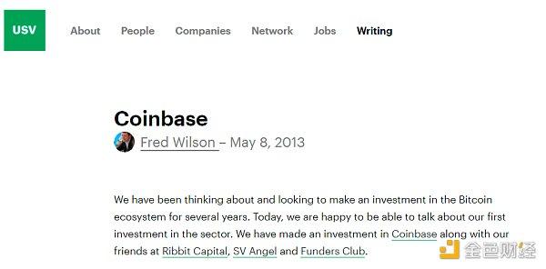 这笔投资就是Coinbase。