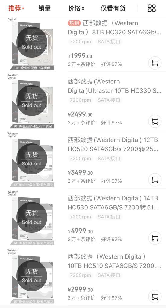 ▲某品牌大容量硬盘处于无货状态 来源:电商平台