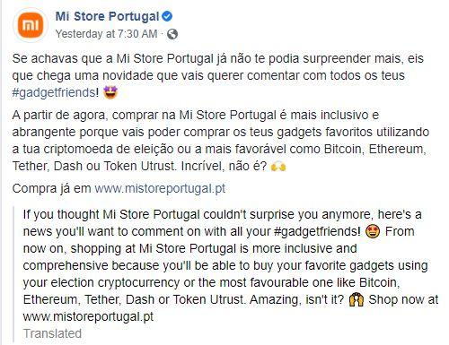 Xiaomi Portugal Store has accepted Bitcoin and other cryptocurrencies as a means of payment
