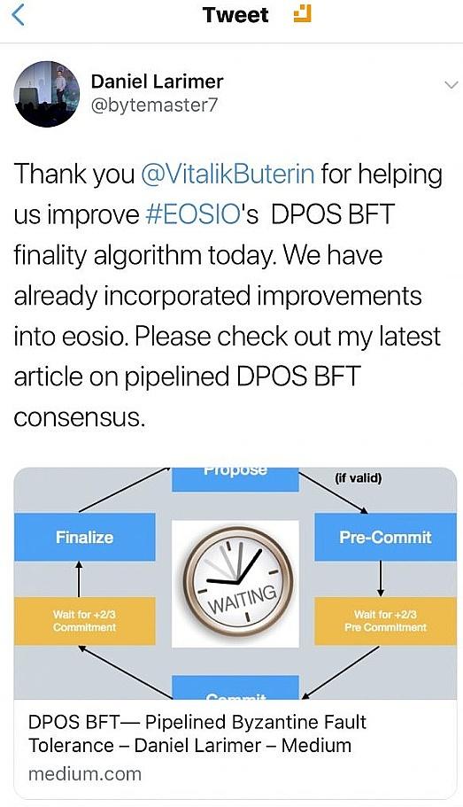 EOS发视频回应中心化质疑 这次连V神也来帮忙提升DPoS共识