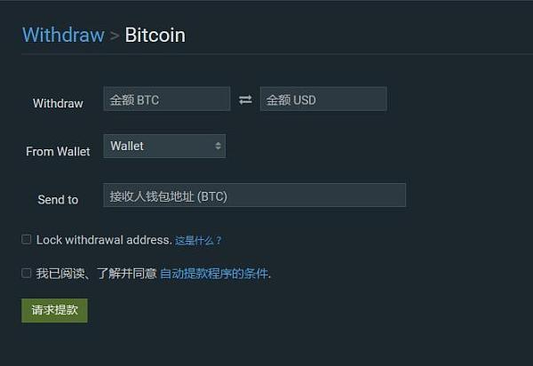 Bitfinex官网后台比特币提币提款界面