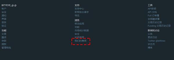 """Bitfinex官网首页下方,选择""""我们的费用"""""""
