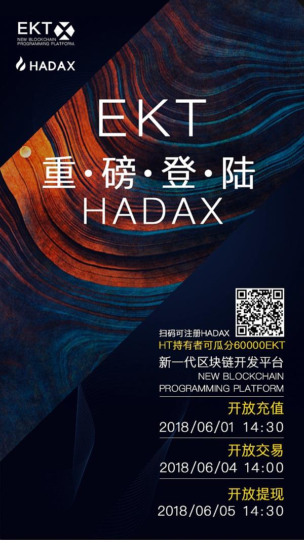 EKT今日重磅登录火币HADAX,6月4日开放交易